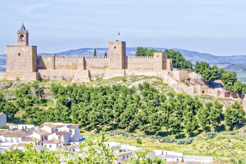 A view of Antequera, with green trees surrounding the Alcazaba fortress up on a hill.