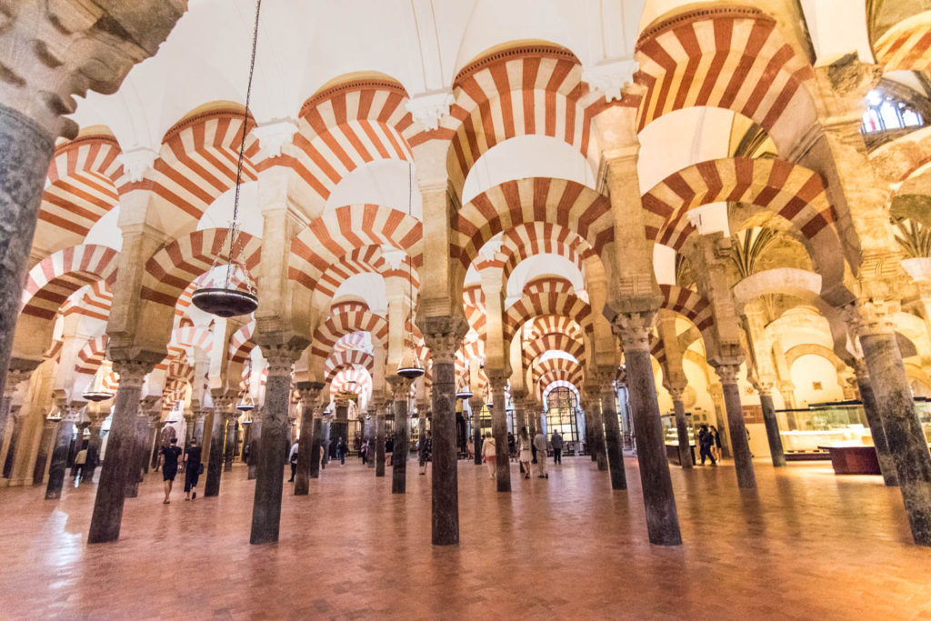 A view of the various arches in the Mezquita of Córdoba.