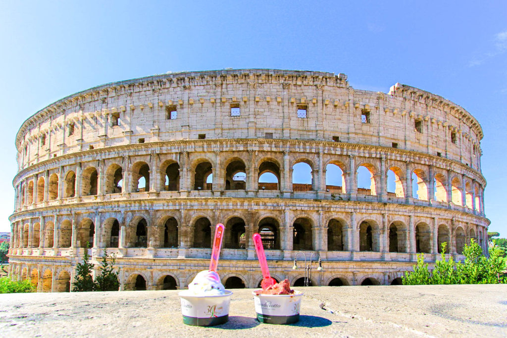 Gelato in front of the Colosseum in Rome